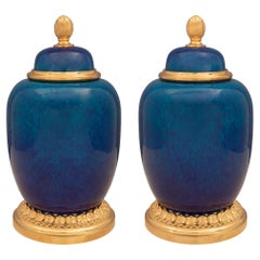 Pair of French 19th Century Louis XVI St. Porcelain and Ormolu Jars