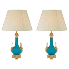 Pair of French 19th Century Louis XVI St. Porcelain and Ormolu Lamps