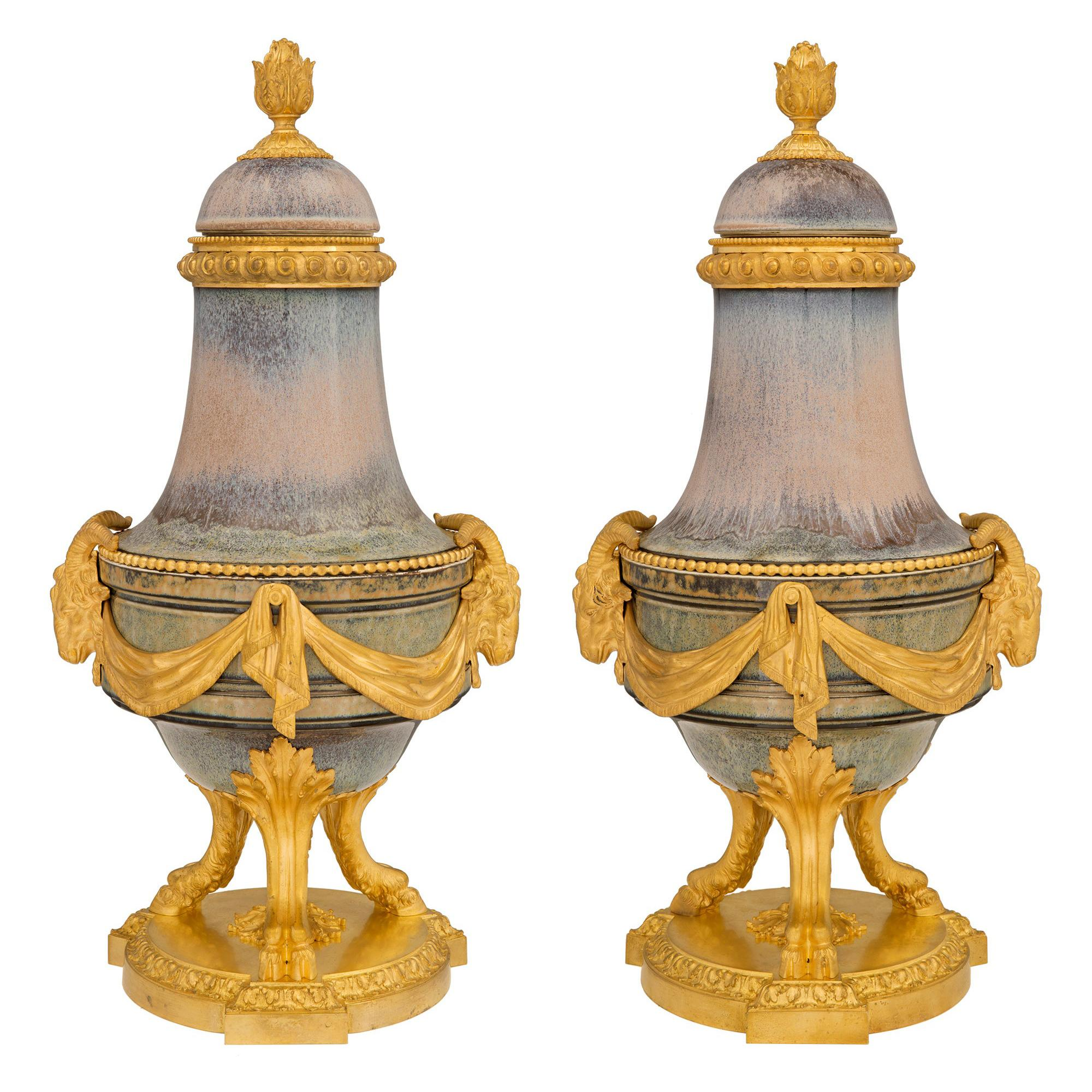 Pair of French 19th Century Louis XVI St. Porcelain and Ormolu Lidded Urns