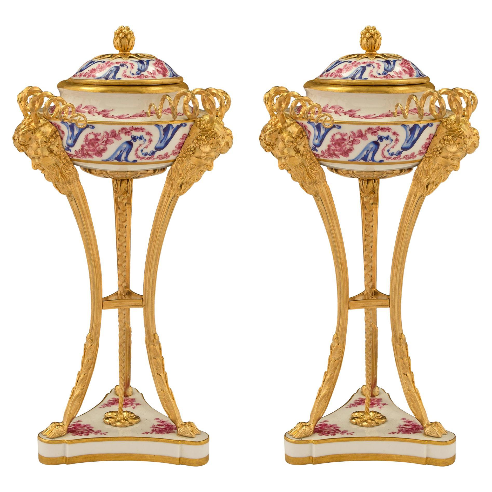 Pair of French 19th Century Louis XVI St. Sèvres Porcelain and Ormolu Lidded Urn