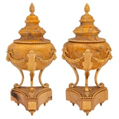 Pair of French 19th Century Louis XVI St. Sienna Marble and Ormolu Cassolettes