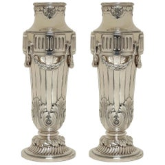 Pair of French 19th Century Louis XVI Style Silver Plated Vases, Signed GALLIA