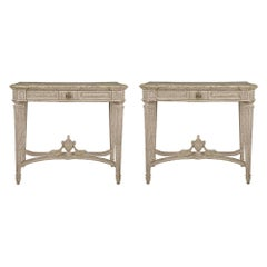 Pair of French 19th Century Louis XVI St. Single Drawer Patinated Consoles