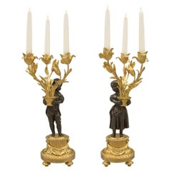 Pair of French 19th Century Louis XVI St. Three-Arm Candelabras