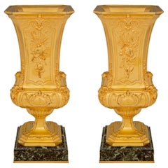 Pair of French 19th Century Louis XVI St. Vases, Signed F. Barbedienne