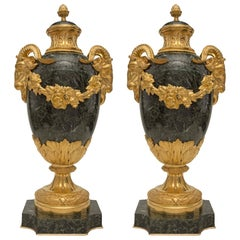 Pair of French 19th Century Louis XVI Style Vert Antique Lidded Marble Urns
