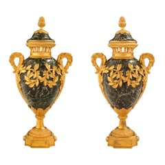 Pair of French 19th Century Louis XVI St. Vert Antique Marble and Ormolu Urns