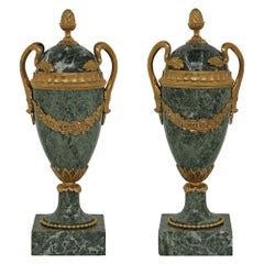 Pair of French 19th Century Louis XVI St. Vert De Maurin Marble and Ormolu Urns