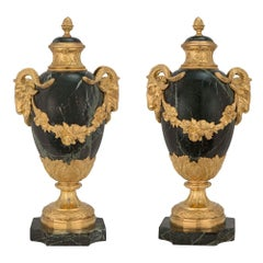 Pair of French 19th Century Louis XVI St. Vert Patricia and Ormolu Lidded Urns