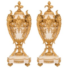 Pair of French 19th Century Louis XVI St. White Carrara Marble and Ormolu Urns