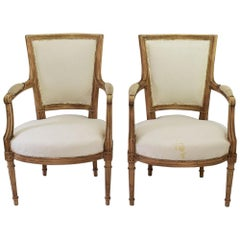 Pair of French 19th century Louis XVI Style Armchairs