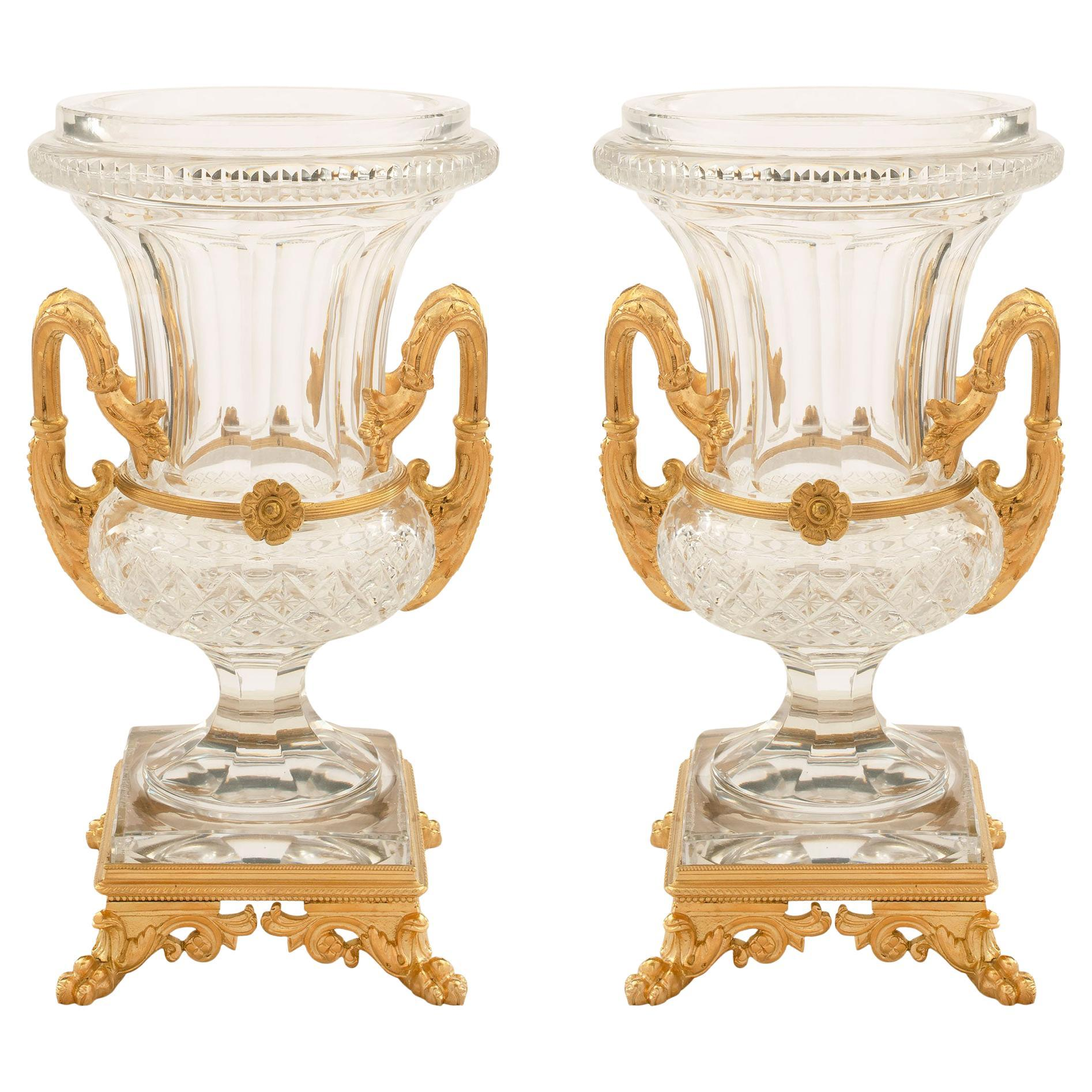 Pair of French 19th Century Louis XVI Style Baccarat Crystal and Ormolu Vases