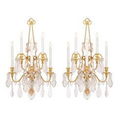 Pair of French 19th Century Louis XVI Style Baccarat Crystal Sconces