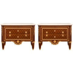 Pair of French 19th Century Louis XVI Style Belle Époque Period Commodes