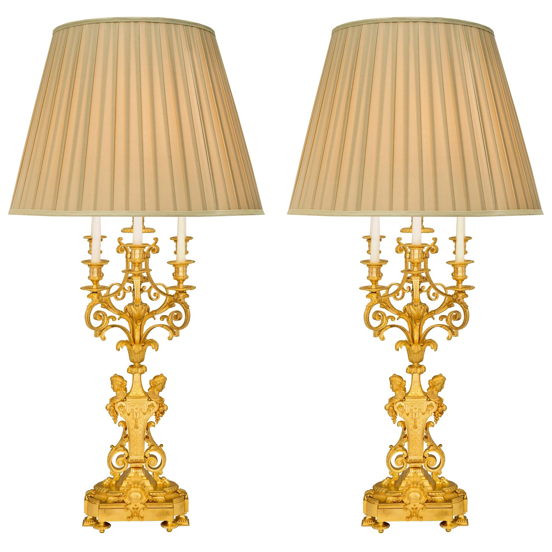 Pair of French 19th Century Louis XVI Style Belle Époque Period Ormolu Lamps