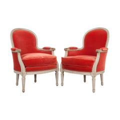 Pair of French 19th Century Louis XVI-Style Bergères