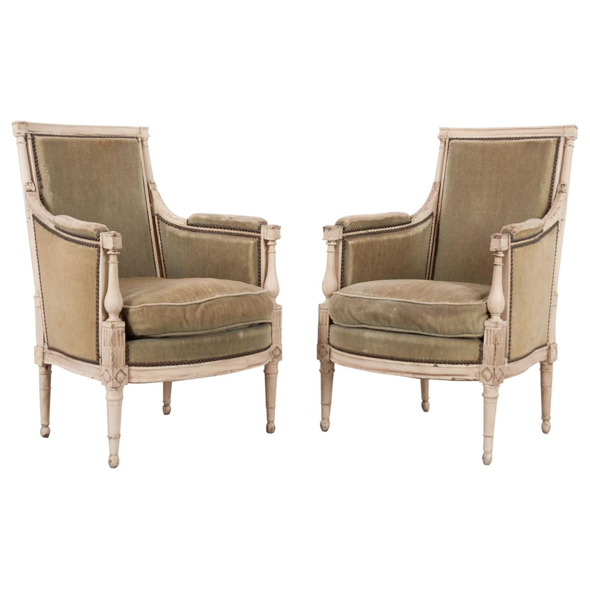 Pair of French 19th Century Louis XVI-Style Bergeres