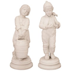 Pair of French 19th Century Louis XVI Style Biscuit de Sèvres Porcelain Statues