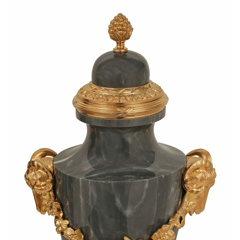 Pair of French 19th Century Louis XVI Style Blue Turquin Marble and Ormolu Urns In Good Condition For Sale In West Palm Beach, FL