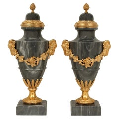 Pair of French 19th Century Louis XVI Style Blue Turquin Marble and Ormolu Urns