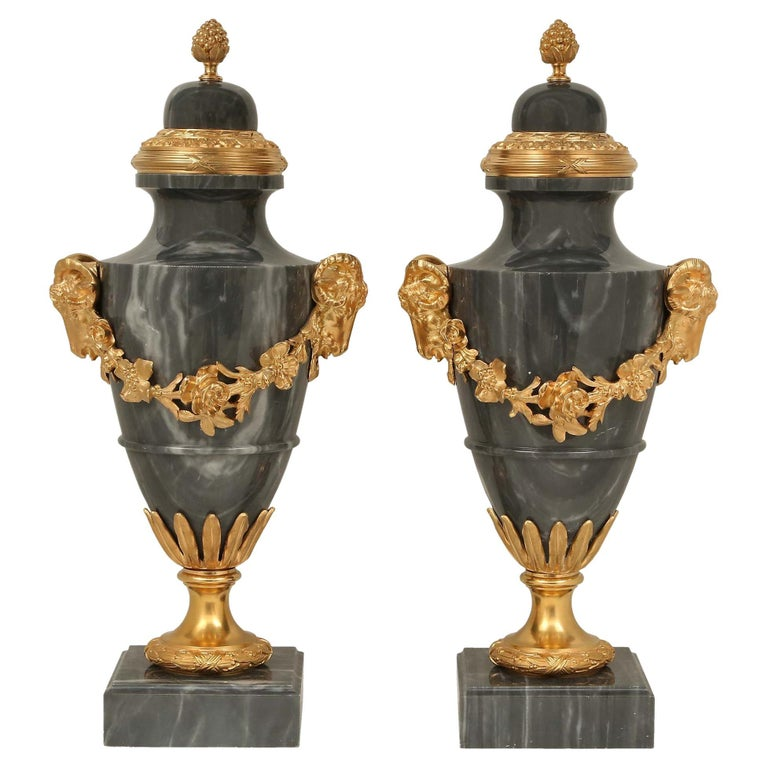 Pair of French 19th Century Louis XVI Style Blue Turquin Marble and Ormolu Urns For Sale