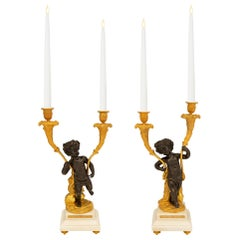Pair of French 19th Century Louis XVI Style Bronze and Marble Candelabras