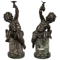 Pair of French 19th Century Louis XVI Style Bronze and Marble Statues