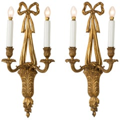 Pair of French 19th Century Louis XVI Style Bronze Appliqué Wall Sconces
