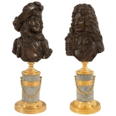 Pair of French 19th Century Louis XVI Style Bronze, Ormolu and Marble Statuettes