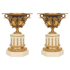 Pair of French 19th Century Louis XVI Style Bronze, Ormolu and Marble Tazzas