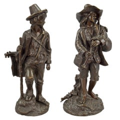 Pair of French 19th Century Louis XVI Style Bronze Statues Signed E. Blazier