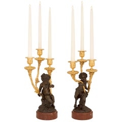 Pair of French 19th Century Louis XVI Style Candelabras, Attributed to Clodion