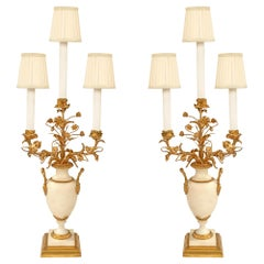 Pair of French 19th Century Louis XVI Style Carrara Marble & Ormolu Candelabras