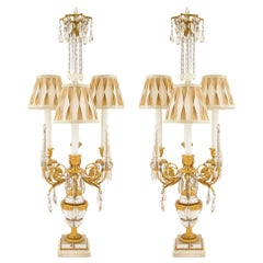 Pair of French 19th Century Louis XVI Style Crystal and Ormolu Lamps