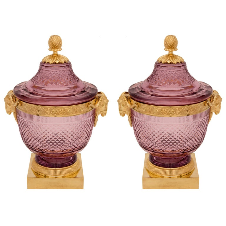 Pair of French 19th Century Louis XVI Style Crystal and Ormolu Lidded Urns For Sale