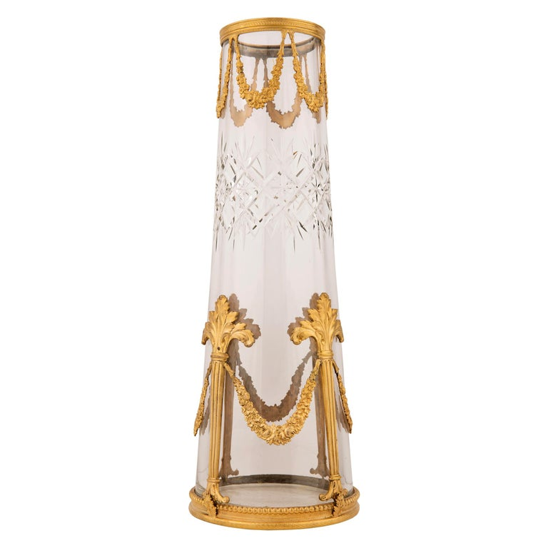 Pair of French 19th Century Louis XVI Style Crystal and Ormolu Vases In Good Condition For Sale In West Palm Beach, FL
