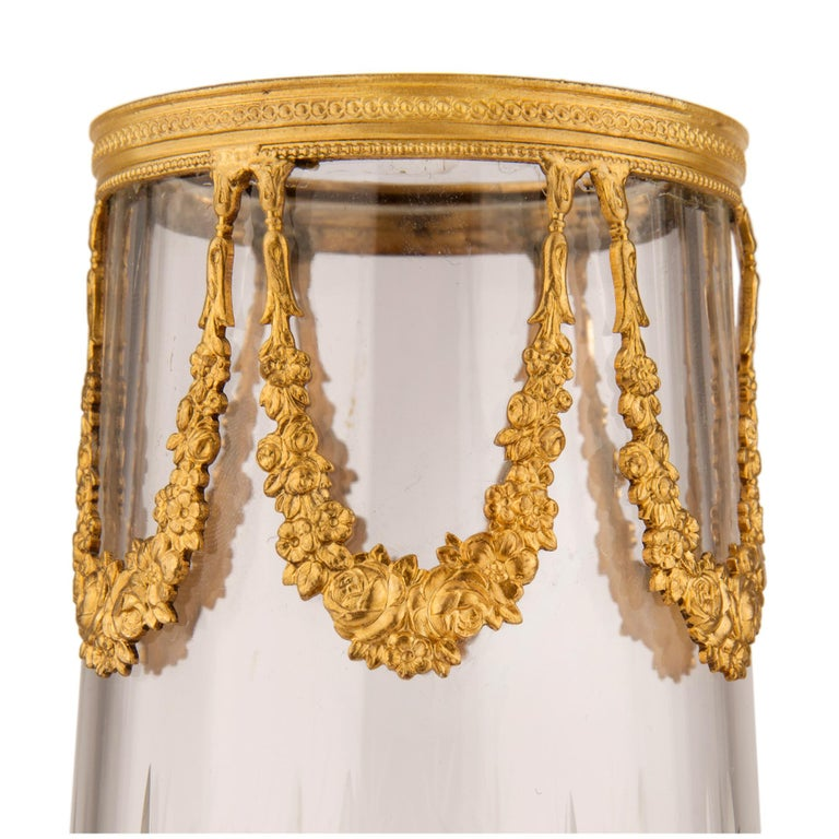 Pair of French 19th Century Louis XVI Style Crystal and Ormolu Vases For Sale 1