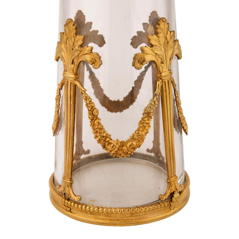 Pair of French 19th Century Louis XVI Style Crystal and Ormolu Vases For Sale 3