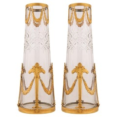 Pair of French 19th Century Louis XVI Style Crystal and Ormolu Vases
