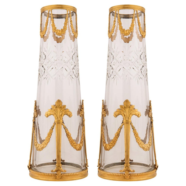 Pair of French 19th Century Louis XVI Style Crystal and Ormolu Vases For Sale