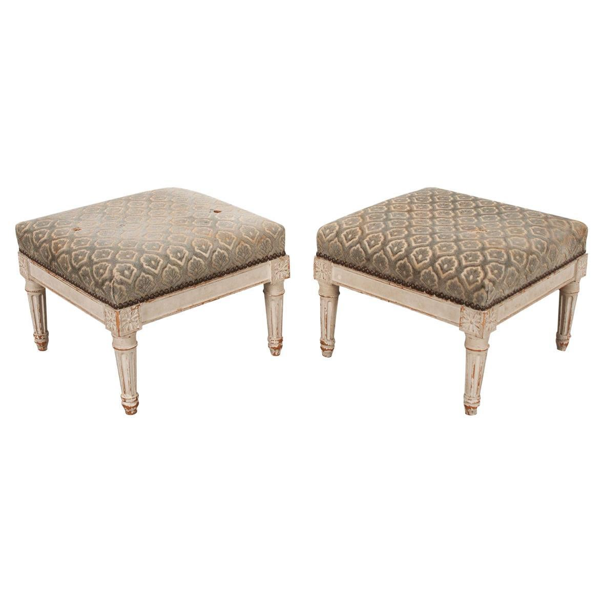 Pair of French 19th Century Louis XVI-Style Foot Stools
