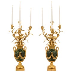 Pair of French 19th Century Louis XVI Style Four-Arm Candelabras