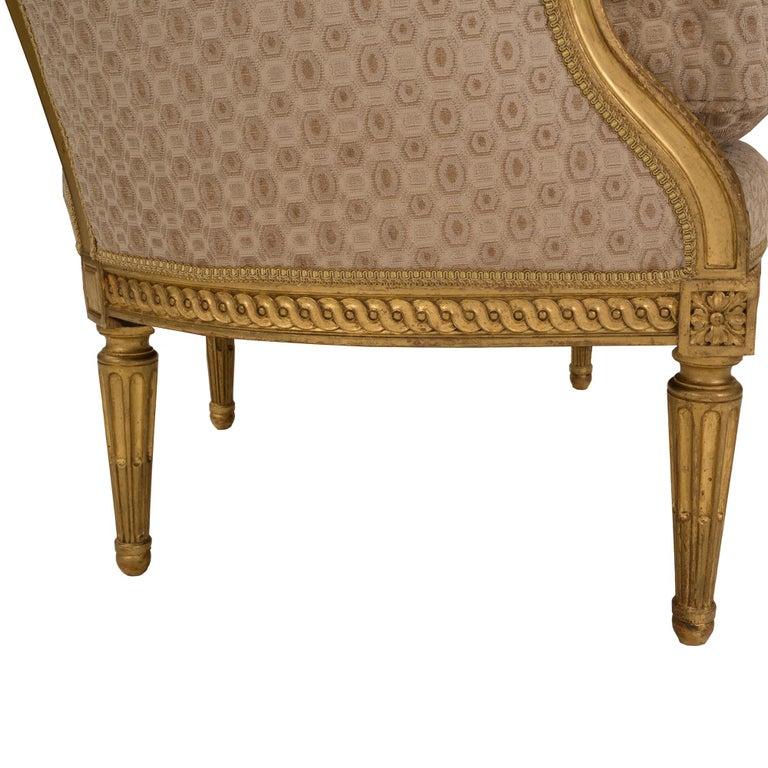 Pair of French 19th Century Louis XVI Style Giltwood Bergères à Oreilles For Sale 2