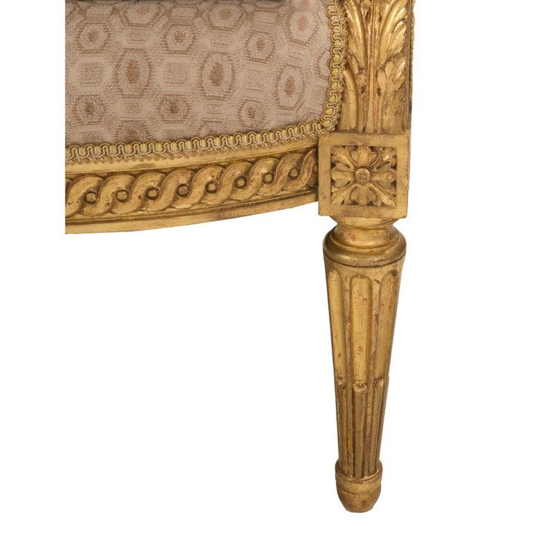 Pair of French 19th Century Louis XVI Style Giltwood Bergères à Oreilles For Sale 4
