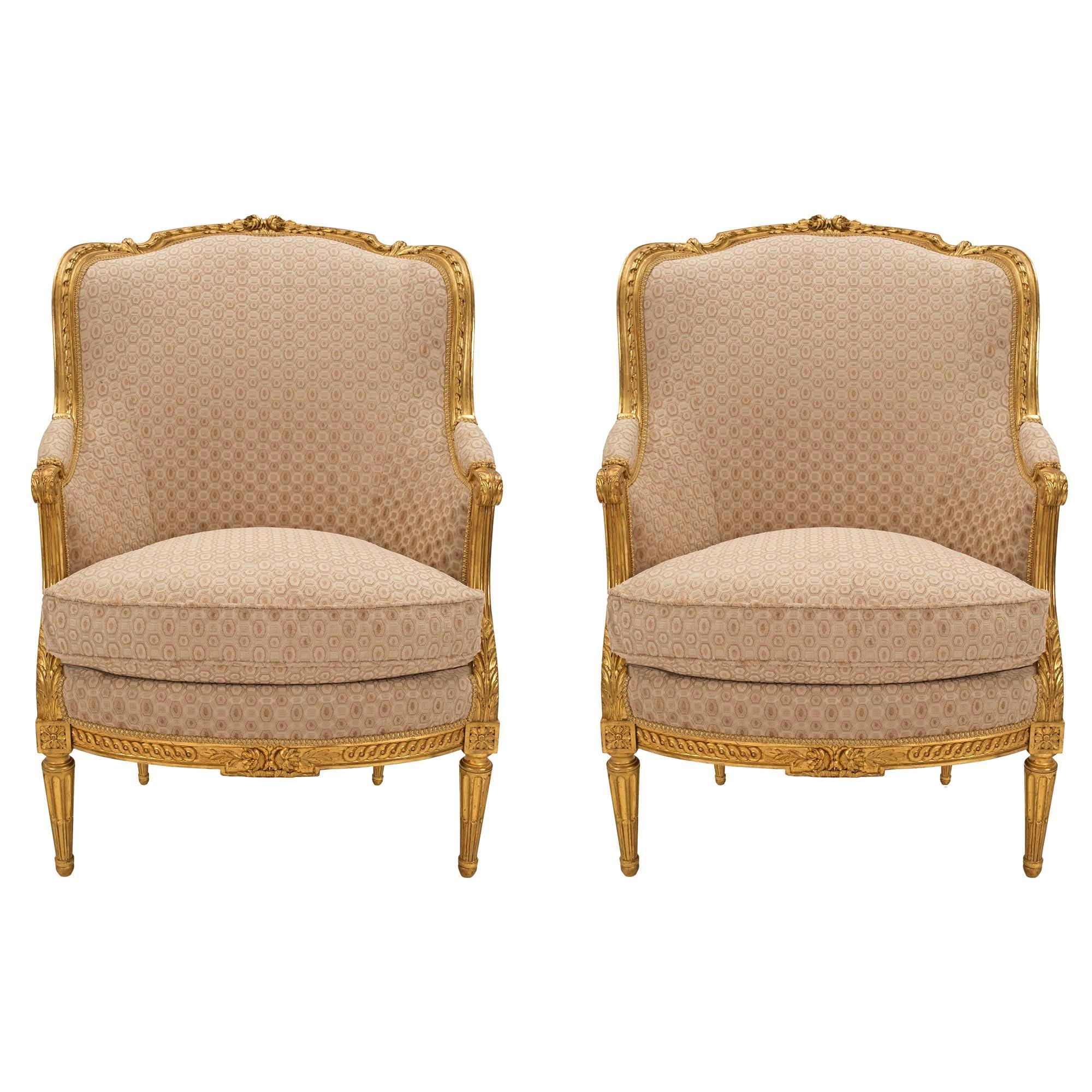 Pair of French 19th Century Louis XVI Style Giltwood Bergères à Oreilles