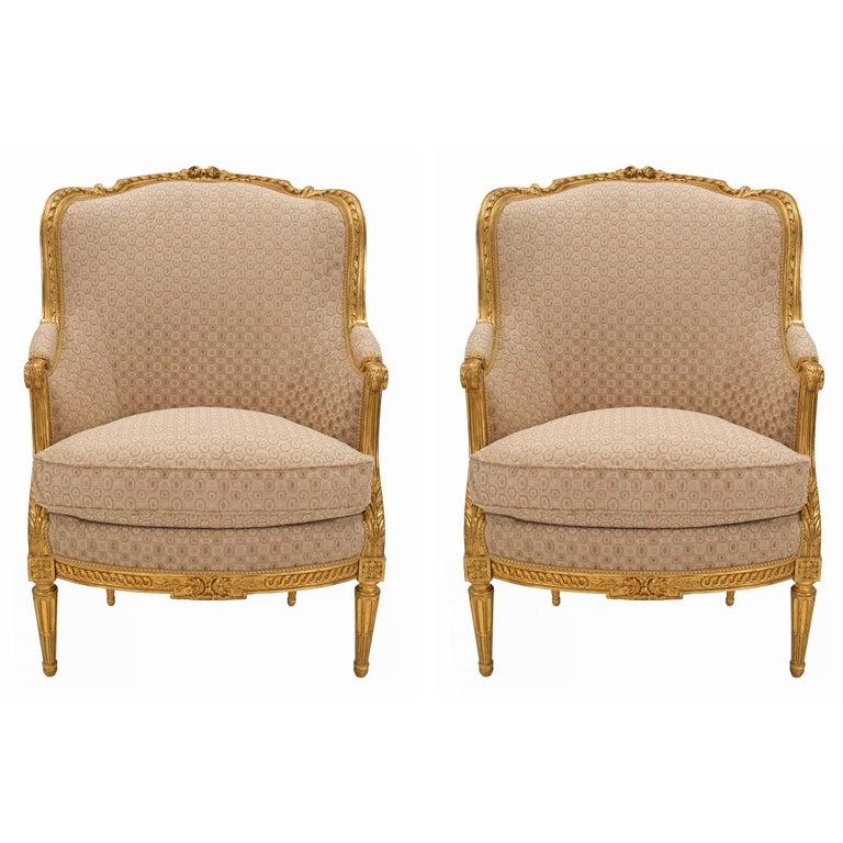 Pair of French 19th Century Louis XVI Style Giltwood Bergères à Oreilles For Sale