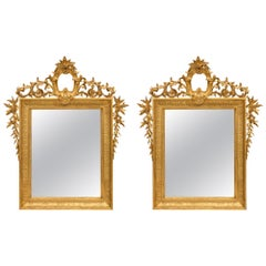 Pair of French 19th Century Louis XVI Style Giltwood Mirrors