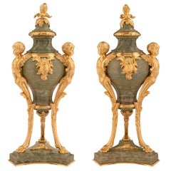Pair of French 19th Century Louis XVI Style Green Marble and Ormolu Lidded Urns