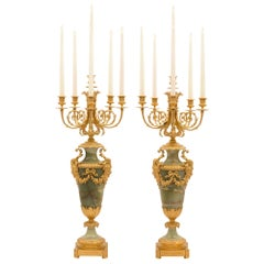 Pair of French 19th Century Louis XVI Style Green Onyx and Ormolu Candelabra