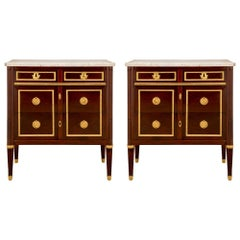 Pair of French 19th Century Louis XVI Style Mahogany and Carrara Marble Chest